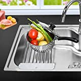 Over the Sink Dish Drying Rack Stretch Adjustable Stainless Steel Multipurpose Kitchen Draining Racks for Fruits and Veggies Drainer