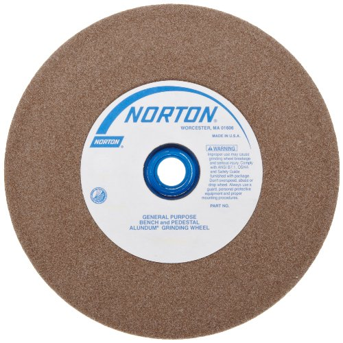 Diameter Pedestal - Norton Bench and Pedestal Abrasive Wheel, Type 01 Straight, Aluminum Oxide, 1