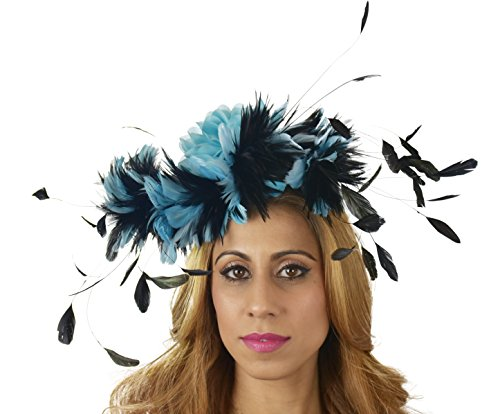 Hats By Cressida Ladies Kentucky Derby Ascot Wedding Fascinator Hat Feather Flower Turquoise Black by Hats By Cressida