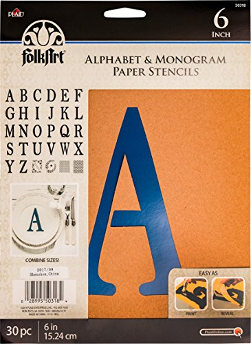 - Plaid PLA50318 Stencil Folk-Art Paper Alphabet & Monogram Serif, 6