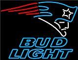Desung New 24''x20'' Sports Team NE-Patriots Logo BudLight Neon Sign (Multiple Sizes) Man Cave Bar Pub Beer Handmade Neon Light EX25