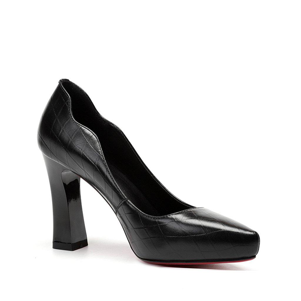 YUBIN Spring Youth New Schuhe mit Hohen Absätzen Weiß Weiß Weiß Dick mit Tipps Joker Flacher Mund Wasserdichte Schuhe Schuhe Damen Leder Damenschuhe (Farbe   schwarz Größe   34) af8030
