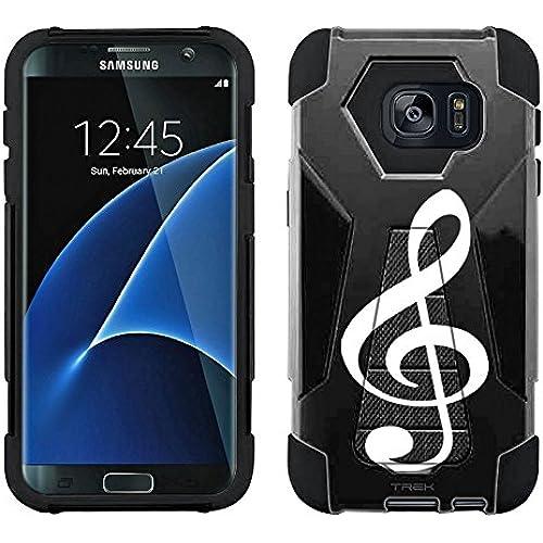 Samsung Galaxy S7 Edge Hybrid Case Silhouette Treble Clef Musician on Black 2 Piece Style Silicone Case Cover Sales