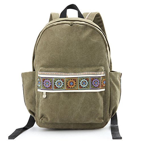 Women Canvas Backpacks Embroideried Daypack Casual Shoulder Bag, Shool Bag Laptop Backpack for Girls (School Bag Style A)