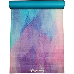 "AIMERDAY Premium Printed Yoga Mat 72-Inch Long 1/4"" Extra Thick High Density Eco-Friendly Non Slip Exercise Mats for Pilates, Fitness, Hot Yoga with Carrying Strap and Travel Bag"
