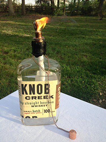 Knob Creek Kentucky Straight Bourbon Whiskey Bottle Tiki Torch/Oil Lamp - One - Outdoor Lighting - Garden Decor - Wine Decor