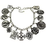 Q&Q Fashion Vintage Silver Plated Catholic Religious Church Medals Charm Saints Pray for US Cross Chain Bracelet Bangle