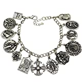 Q&Q Fashion Vintage Silver Tone Catholic Religious Church Medals Charm Saints Pray for US Cross Chain Bracelet Bangle