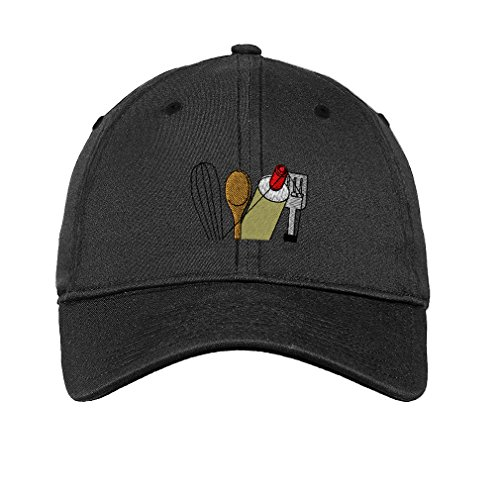 Speedy Pros Chef Cooking Topper Utensils Embroidery Unisex Adult Flat Solid Buckle Cotton 6 Panel Low Profile Hat Cap - Dark Denim, One Size