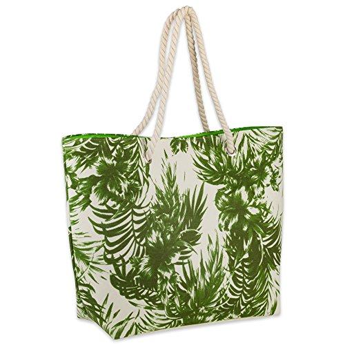 DII Palm Print Beach Bag 15x20x5.5, Cotton Rope Handles Shoulder Travel Tote Green, Palm Green ()