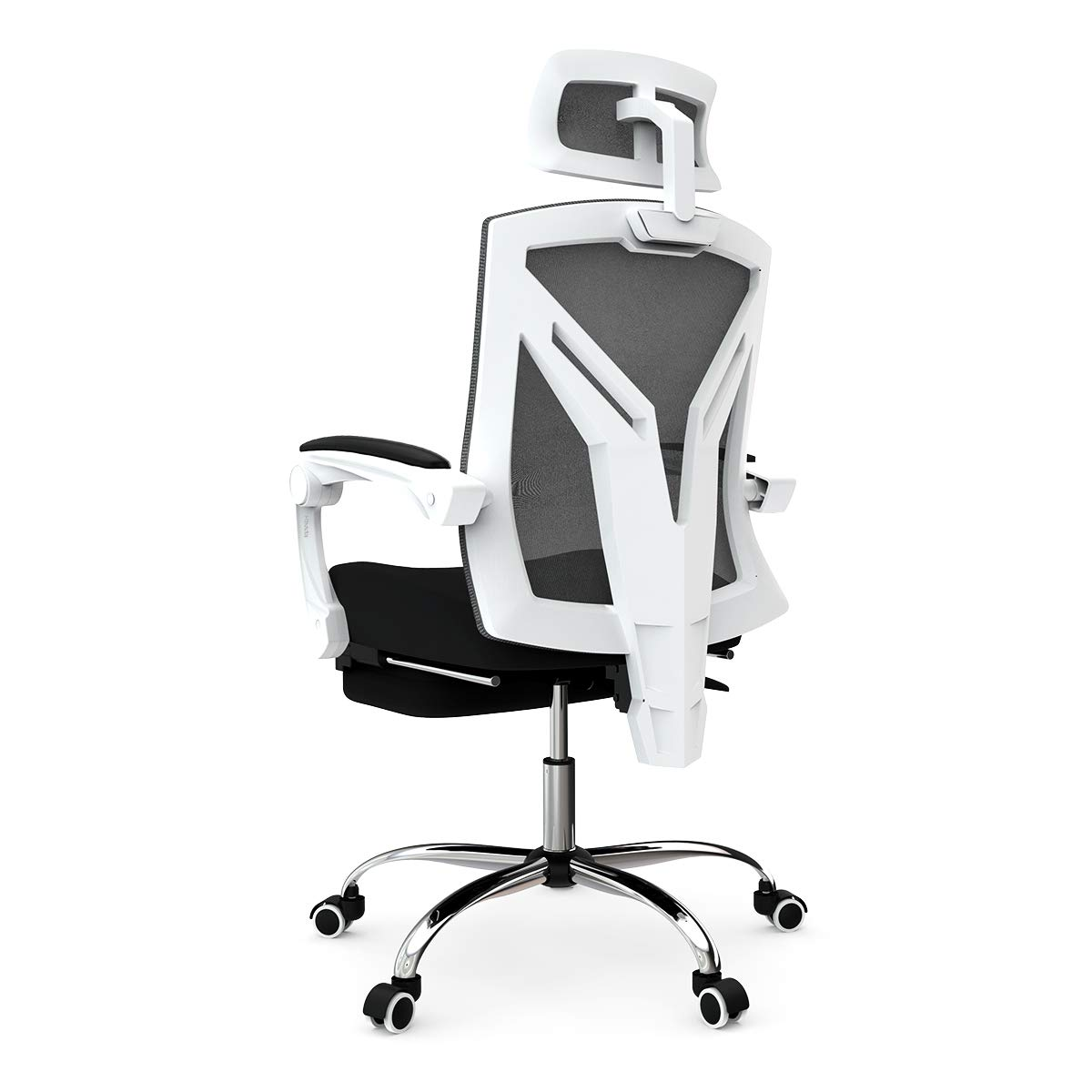 Hbada Ergonomic Office Chair - High-Back Desk Chair Racing Style with Lumbar Support - Height Adjustable Seat,Headrest- Breathable Mesh Back - Soft Foam Seat Cushion with Footrest, White by Hbada (Image #3)