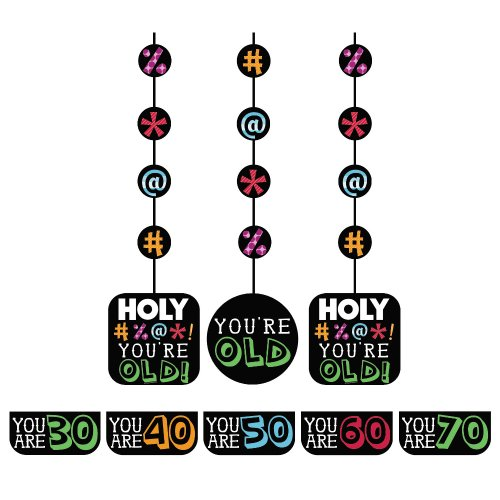 Cut Out Decorations - Creative Converting Holy Bleep 3 Count Hanging Cutout Party Decorations with Customizable Stickers