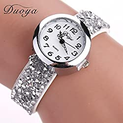 Hunputa® Duoya Brand Watches Women Luxury Crystal Women Bracelet Quartz Wristwatch Rhinestone Clock Ladies Dress Gift Watches (White)