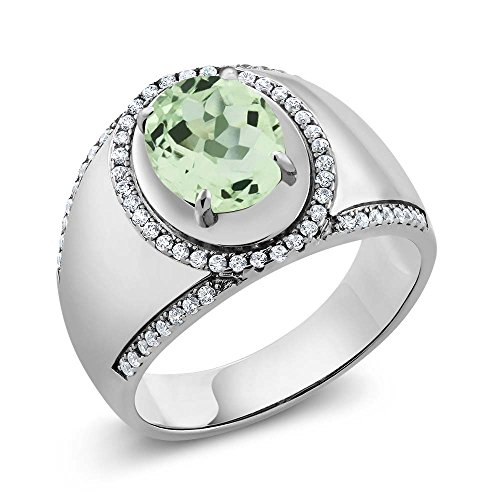 2.89 Ct Oval Green Amethyst 925 Sterling Silver Men's Ring