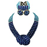 Product review for Africanbeads 4 Layers Crystal Choker Necklace Nigerian Wedding African Beads Jewelry Set Party Gift