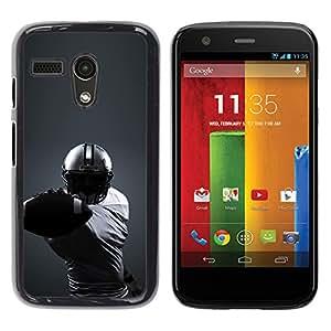 Minimalista fútbol - Metal de aluminio y de plástico duro Caja del teléfono - Negro - Motorola Moto G 1 1ST Gen