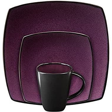 Gibson Soho Lounge Purple 16 Piece Dinnerware Set