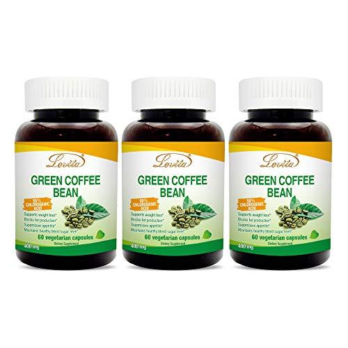 Lovita Green Coffee Bean Extract 1600mg, 4:1 Extract, 50% chlorogenic Acid, 60 Capsules (Pack of 3)