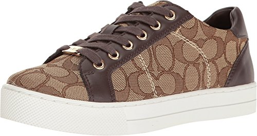 Coach Womens Paddy Khaki Chestnut Outline Signature Canvas Nappa Sneakers 75 B US Women