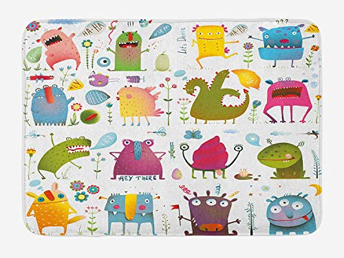 HAPPY-M Funny Bath Mat, Cute Cartoon Monsters Kids Design Let's Dance Groovy Fun Creatures in Garden Boho, Plush Bathroom Decor Mat with Non Slip Backing, 24 W X 16W Inches, Multicolor ()