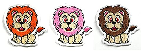 Lion Patch Set - Animal Patches - 3 Pcs of Applique Embroidered patches - Iron on Patches - Backpack Patches - Orange Lion Patch, Pink Lion Patch, Brown Lion Patch - Size 5.5 x 5.5 (Desert Arizona Flag Patch)