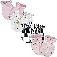 Gerber Baby Girls 4-Pack Mittens, Princess, 0-3 Months
