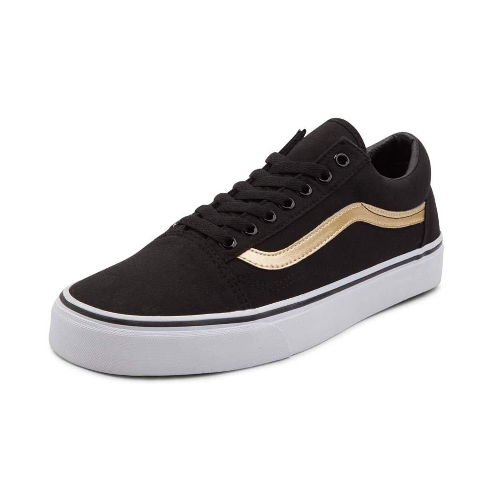 Vans Unisex Old Skool Classic Skate Shoes B0725WHR3Y Mens 6.5/Womens 8|Black/Gold 7121