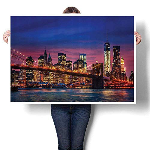 - Canvas Wall Art That Never Sleeps Ne Lights Reflectis East River City Art Stickers,20