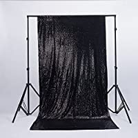 Zdada Black 5ftx6ft Shimmer Ceremony Background Sequin Photography Satin Backdrop for Christmas/Home Decoration