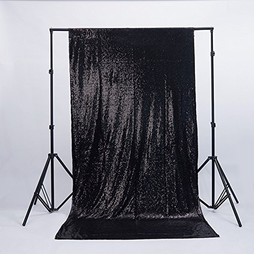 Zdada Sequin Satin Backdrop - Backdrop Photography and Photo Booth Backdrop for Wedding/Party/Photography/Curtain/Birthday/Christmas/Prom/Other Event Decor - 6FTx6FT(Black) -