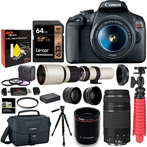 Canon T7 DSLR Camera Two Lens Kit Bundle with Vivitar 650-1300mm Lens, Canon 75-300mm III, Lexar 64GB U3 Memory Card and Accessories