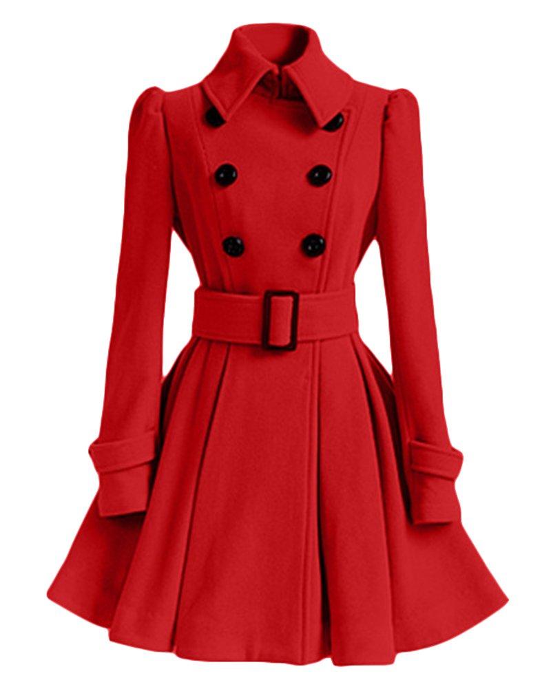 Women Woolen Thick Warm Winter Long Coat Hood Overcoat Jacket Outwear Moollyfox