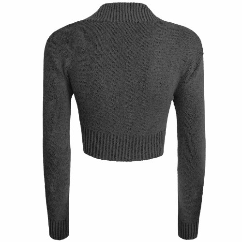 Cárdigan bolero de manga larga para mujer, de punto (tallas 34 - 40) gris oscuro