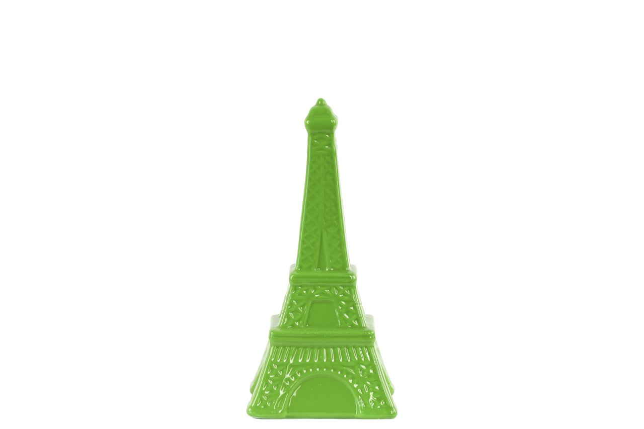 Green Urban Trends Ceramic Eiffel Tower Figurine SM Gloss Finish Green