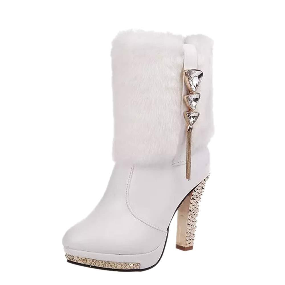 ZHRUI Sexy Stiefel Stiefel Stiefel Frauen Knöchel High Heel Perlen Schuhe (Farbe   Weiß, Größe   EU 40) f52389