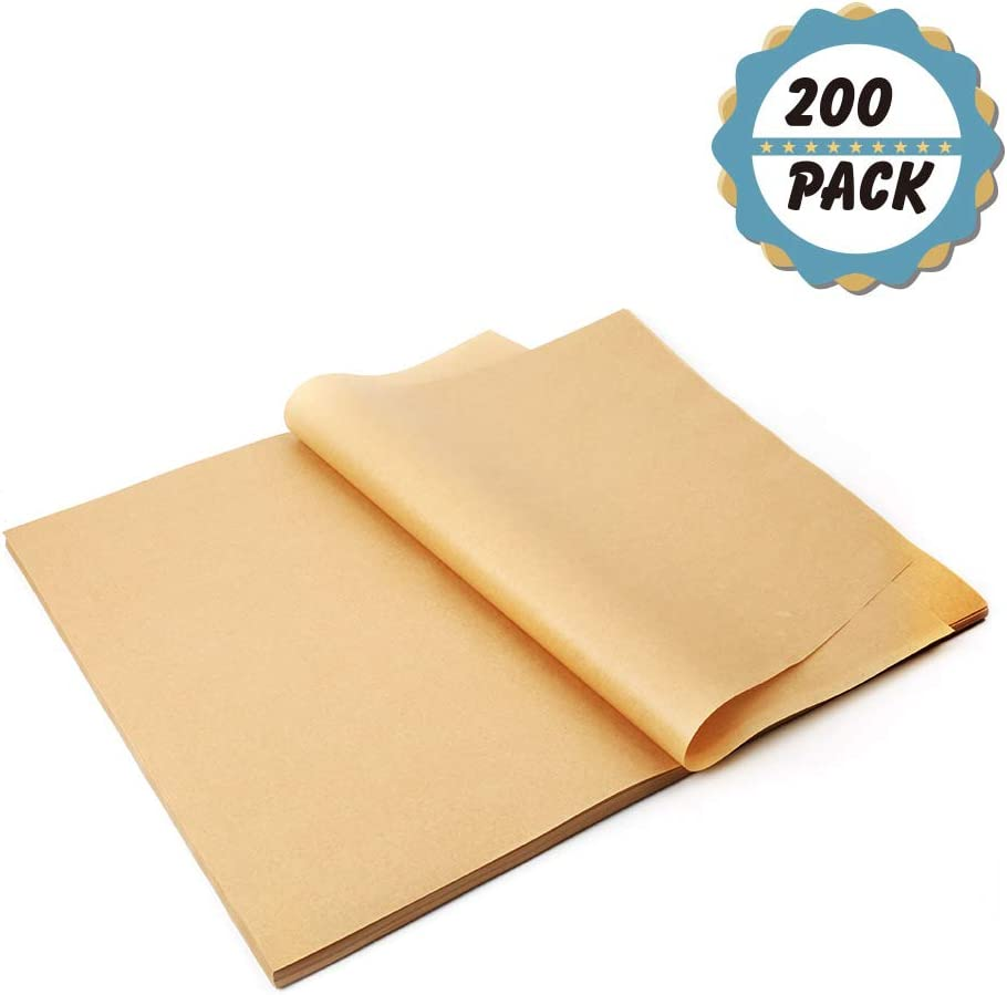 """Kasmoire 12x16"""" Parchment Paper Baking Sheets(200pack),No Curl,No Tear,No Burn for Baking,Grill,Steam,Pans,Air Fryers,Hamburger Patty Paper"""