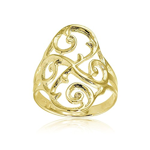 Hoops & Loops Yellow Gold Flashed Sterling Silver Filigree Celtic Swirl Ring, Size 9