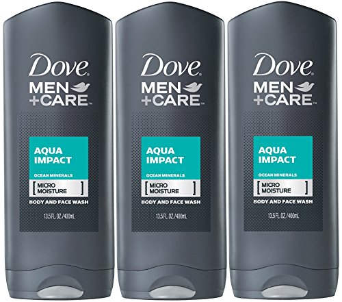 Dove Men+Care Body Wash, Aqua Impact, 13.5 Oz (Pack of 3)