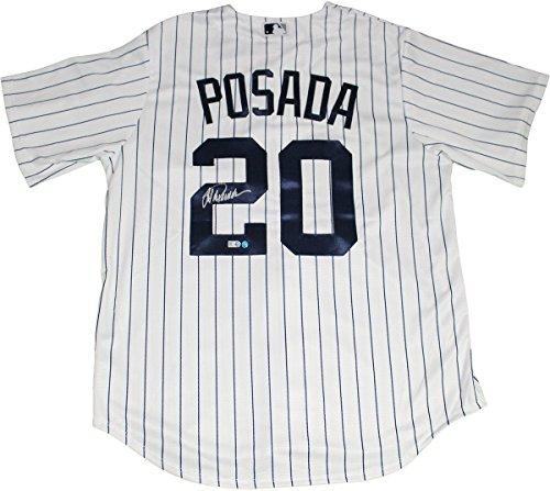 Jorge Posada Signed Posada Retirement Logo Replica Home Yankees Jersey (MLB Auth) Derek Jeter Replica Baseball Jersey