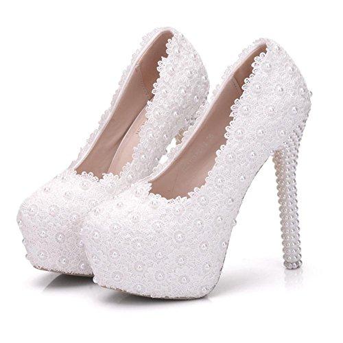 Boda Nupcial Mujer Plataforma Zapatos Zapatillas Dedo pie Tac Cerrado del Alto wwr7Hd