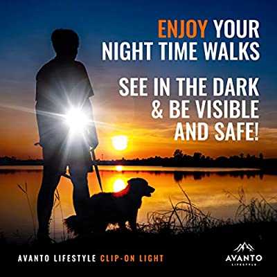 AVANTO Clip On Hands Free Safety Light, Dog Lights for Night Walking, LED Dog Collar Light, Best for Walking at Night Time, Camping, Running, Jogging, Reading, Working, for Reflective Running Gear