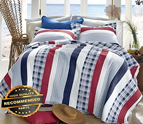 (Werrox Nautical Stripe Twin/Full Queen or King Quilt Set : Beach House RED White Blue Full/Queen Size | Quilt Style)