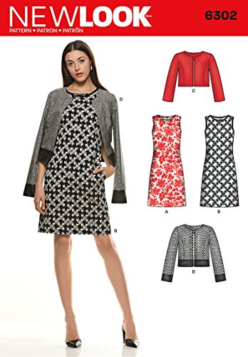 NEW LOOK U06302A Misses' Sleeveless Dress and Jackets Sewing Template