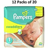 Pampers Swaddlers Diapers, Size 1, 20 Count Pack of 12 (Total of 240 Pampers)