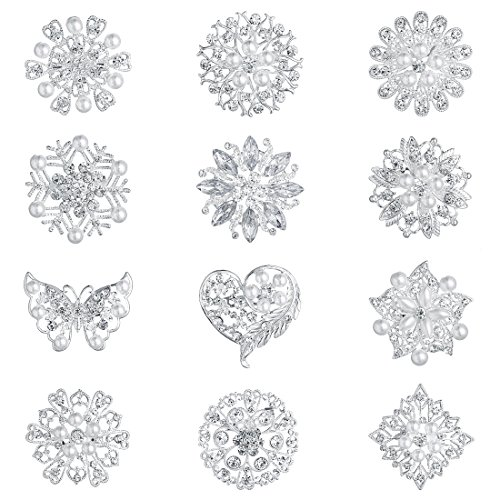 WeimanJewelry Silver Plated Assorted Crystal Rhinestones Brooch Pins Set for DIY Wedding Bouquets Kit (Silver Medium Size 12pcs)