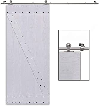 CCJH 8FT-244cm Acero Inoxidable Herraje para Puerta Corredera Kit de Accesorios para Puertas Correderas Rueda Riel Juego para Una Puerta de Madera: Amazon.es: Bricolaje y herramientas