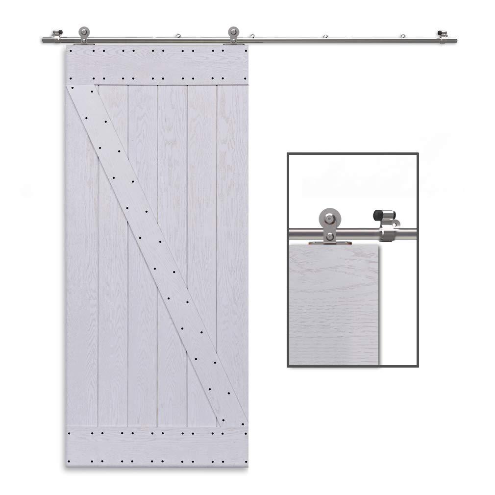 CCJH 6.6FT-200cm Acero Inoxidable Herraje para Puerta Corredera Kit de Accesorios para Puertas Correderas Rueda Riel Juego para Dos Puertas de Madera