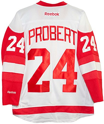 Bob Probert Detroit Red Wings Road White Reebok Premier Jersey Sewn Tackle Twill Name and Number (Medium) (Reebok Embroidered Hat)