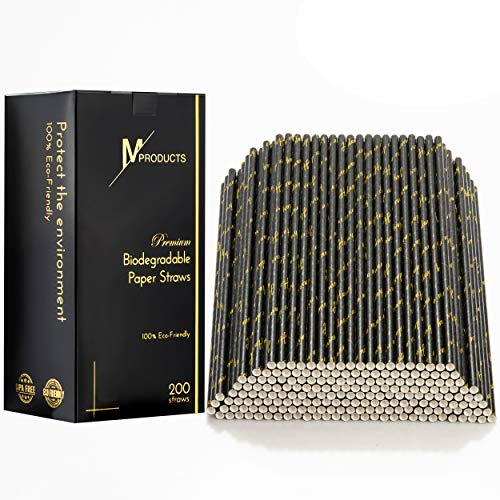 Elegant Straw - 200-Pack Paper Straws - Disposable Biodegradable Drinking Straws - Unique Black & Gold Elegant Design - Have A Nice Day Inscription - Ideal for Special Events, Wedding, Birthday Party, Home Use