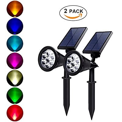 7 Color LED Solar Powered Landscape Spotlights 2 in 1 Adjustable Auto-on/off Waterproof Outdoor Solar Lights Security Lighting for Driveway, Patio, Yard, Garden (Pack of 2)